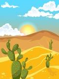 Paysage d'ÉTÉ Désert avec des cactus Montagnes du sable Photographie stock
