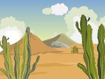 Paysage d'ÉTÉ Désert avec des cactus Montagnes du sable Image stock
