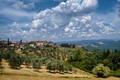 Paysage d'été dans la région Toscane de chianti photographie stock libre de droits