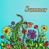 Paysage d'été dans le boho de style chic, hippie, carte, couverture Fleurs multicolores abstraites sur un fond bleu Illustration Stock