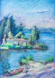 Paysage d'été, lac illustration stock