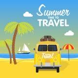 Paysage d'île de camping de plage d'été illustration libre de droits