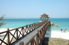 Paysage d'île de wuzhizhou : pavillon Photographie stock libre de droits
