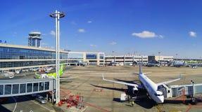 Paysage d'aéroport de Domodedovo au temps de jour ensoleillé Photographie stock