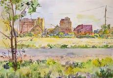 Paysage d'air léger avec les bâtiments non finis peints avec l'aquarelle Photos stock