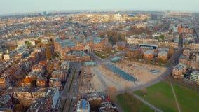 Paysage d'Amsterdam près des musées et des parcs célèbres banque de vidéos