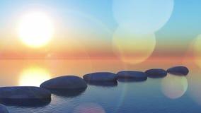 paysage 3D animé avec des pierres de progression en mer banque de vidéos