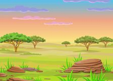 Paysage d'animation de la savane africaine illustration libre de droits