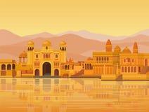 Paysage d'animation : la ville indienne antique : temples, palais, logements, berge illustration de vecteur