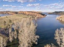 Paysage d'antenne de lac Images libres de droits