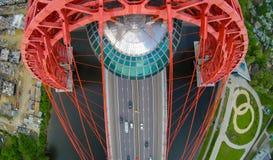 Paysage d'antenne de pont suspendu de Zhivopisny Photo libre de droits