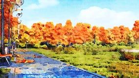 Paysage d'aquarelle d'automne avec l'allée vide de parc illustration libre de droits