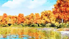 Paysage d'aquarelle avec les arbres et le lac d'automne clips vidéos