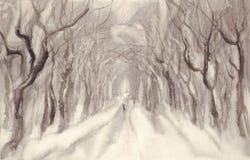 Paysage d'aquarelle d'avenue d'hiver illustration libre de droits