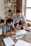 Paysage d'aquarelle de peinture de famille très unie Image libre de droits