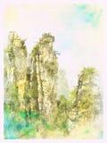 Paysage d'aquarelle de ressortissant Forest Park de Zhangjiajie Image stock