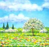 Paysage d'aquarelle de série illustration libre de droits