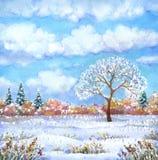 Paysage d'aquarelle de série illustration de vecteur