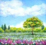 Paysage d'aquarelle de série de illustration libre de droits