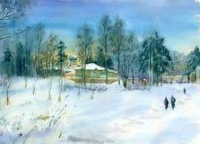 Paysage d'aquarelle Soirée givrée dans le village Image libre de droits