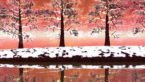 Paysage d'arbres d'hiver - 3D rendent clips vidéos