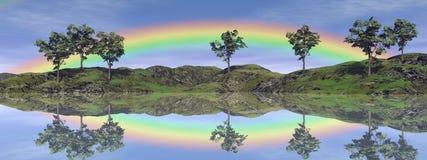Paysage d'arc-en-ciel - 3D rendent Photographie stock
