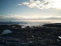 Paysage d'aube en plage d'EL Medano, Ténérife, Îles Canaries, Espagne photographie stock libre de droits