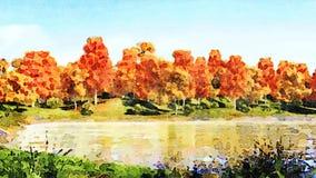 Paysage d'automne d'aquarelle sur un rivage de lac de forêt banque de vidéos