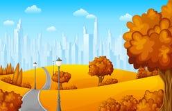 Paysage d'automne avec des arbres et des bâtiments de ville illustration libre de droits