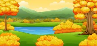 Paysage d'automne avec des rivières et des arbres illustration stock