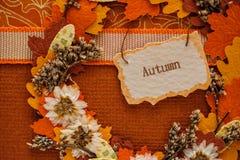 Paysage d'automne avec les feuilles et l'étiquette Photographie stock libre de droits