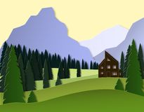 Paysage d'automne avec les montagnes, la forêt de sapin et la maison conception de coupe du papier 3d vecteur posé illustration de vecteur