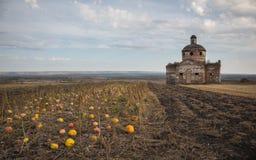 Paysage d'automne avec les potirons et la vieille église Photos libres de droits