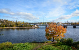 Paysage d'automne dans Vyborg, Russie Photographie stock