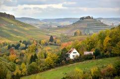 Paysage d'automne de l'Allemagne avec la vue sur des collines de vignoble Photos stock