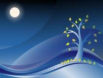 Paysage d'automne de nuit illustration stock