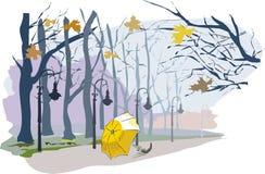 Paysage d'automne, parc, chute de feuille, parapluie sur la route illustration de vecteur