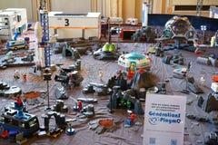 Paysage d'espace extra-atmosphérique de Playmobil Photos stock