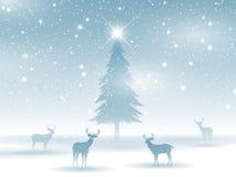 Paysage d'hiver avec des cerfs communs Image libre de droits