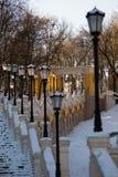 Paysage d'hiver avec des escaliers à Kiev Photo libre de droits