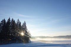 Paysage d'hiver avec la route et les arbres impeccables au coucher du soleil Photos stock