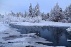 Paysage d'hiver avec le courant et les réflexions Photographie stock