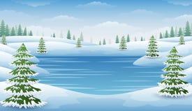 Paysage d'hiver avec le lac et les sapins congelés Photo stock