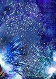 Paysage d'hiver avec les rayons et la neige sur un fond bleu illustration stock