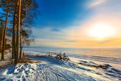 Paysage d'hiver avec une bicyclette Le fleuve Ob, Sibérie occidentale, R Photo libre de droits