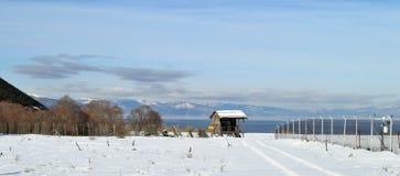 Paysage d'hiver couvert de neige Images stock