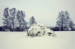 Paysage d'hiver dans un jour sombre avec la meule de foin Photographie stock libre de droits