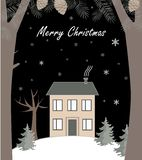 Paysage d'hiver de bande dessinée, avec la maison et la colline de neige Illustration de vecteur illustration libre de droits