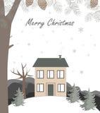 Paysage d'hiver de bande dessinée, avec la maison et la colline de neige Illustration de vecteur illustration stock
