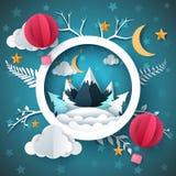 Paysage d'hiver de bande dessinée Montagne et ballon à air illustration stock